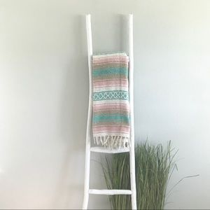 Boho Pink, Turquoise, & White Yoga Mexican Blanket